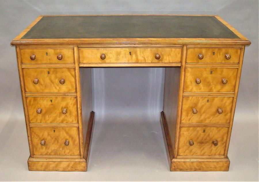 Regency satin birch pedestal desk
