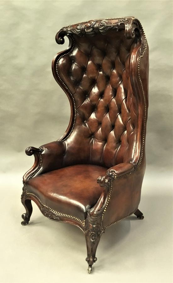 Victorian mahogany and leather hall porters chair