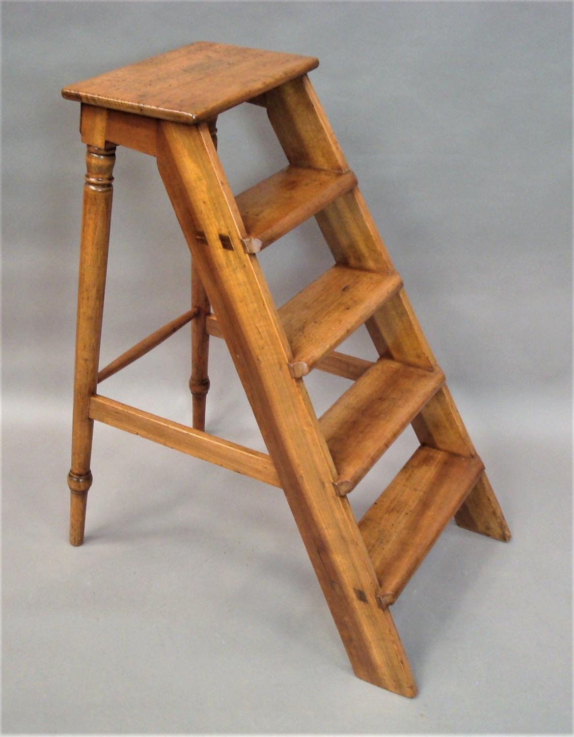 C19th English set of fruitwood library steps