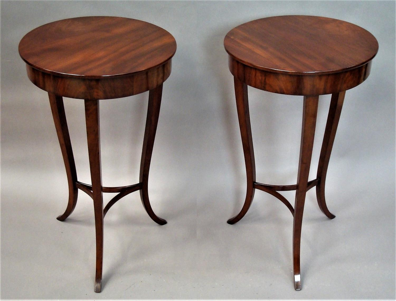 C19th pair of mahogany end tables