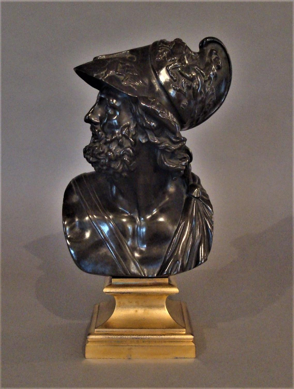 C19th bronze Grand Tour bust of Ajax