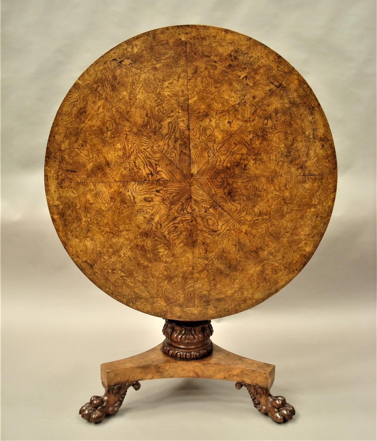 Regency burr ash, elm and oak centre table