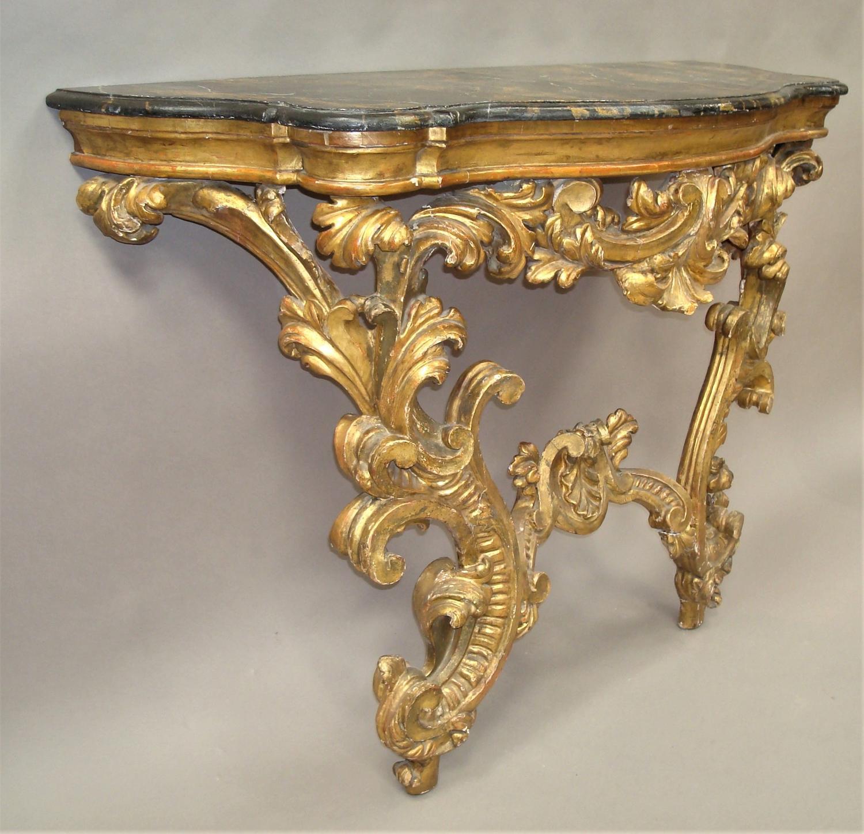 C18th Venetian Rococco giltwood console table