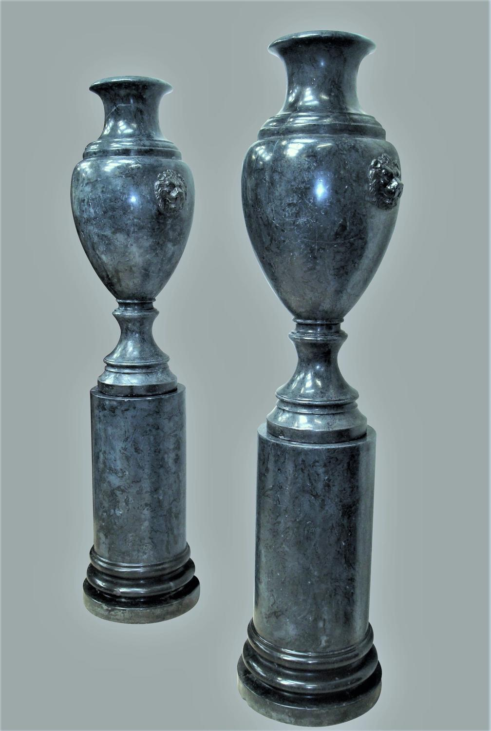 C20th pair of scagliola urns