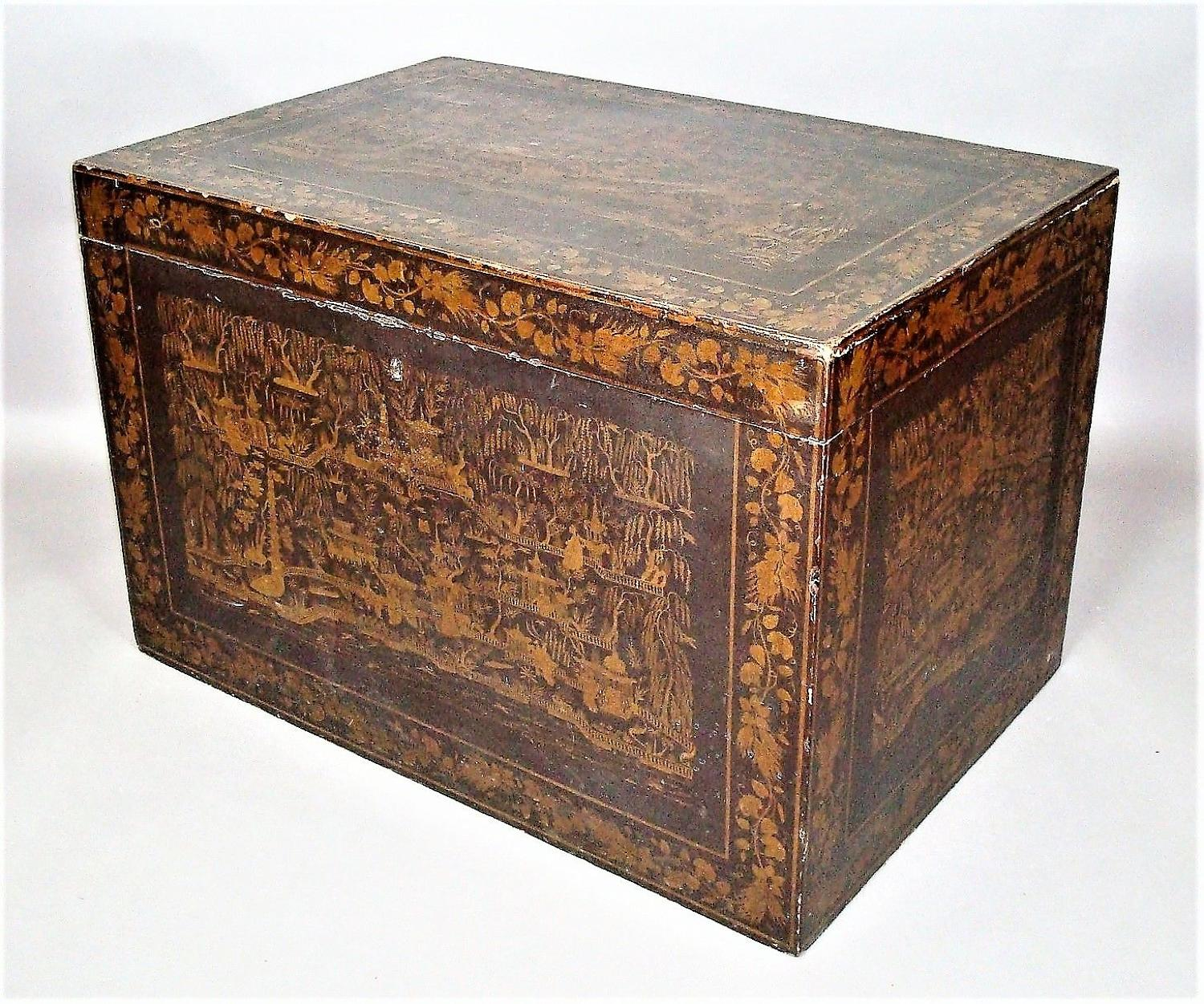 C19th Indian Chinoiserie lacquered trunk