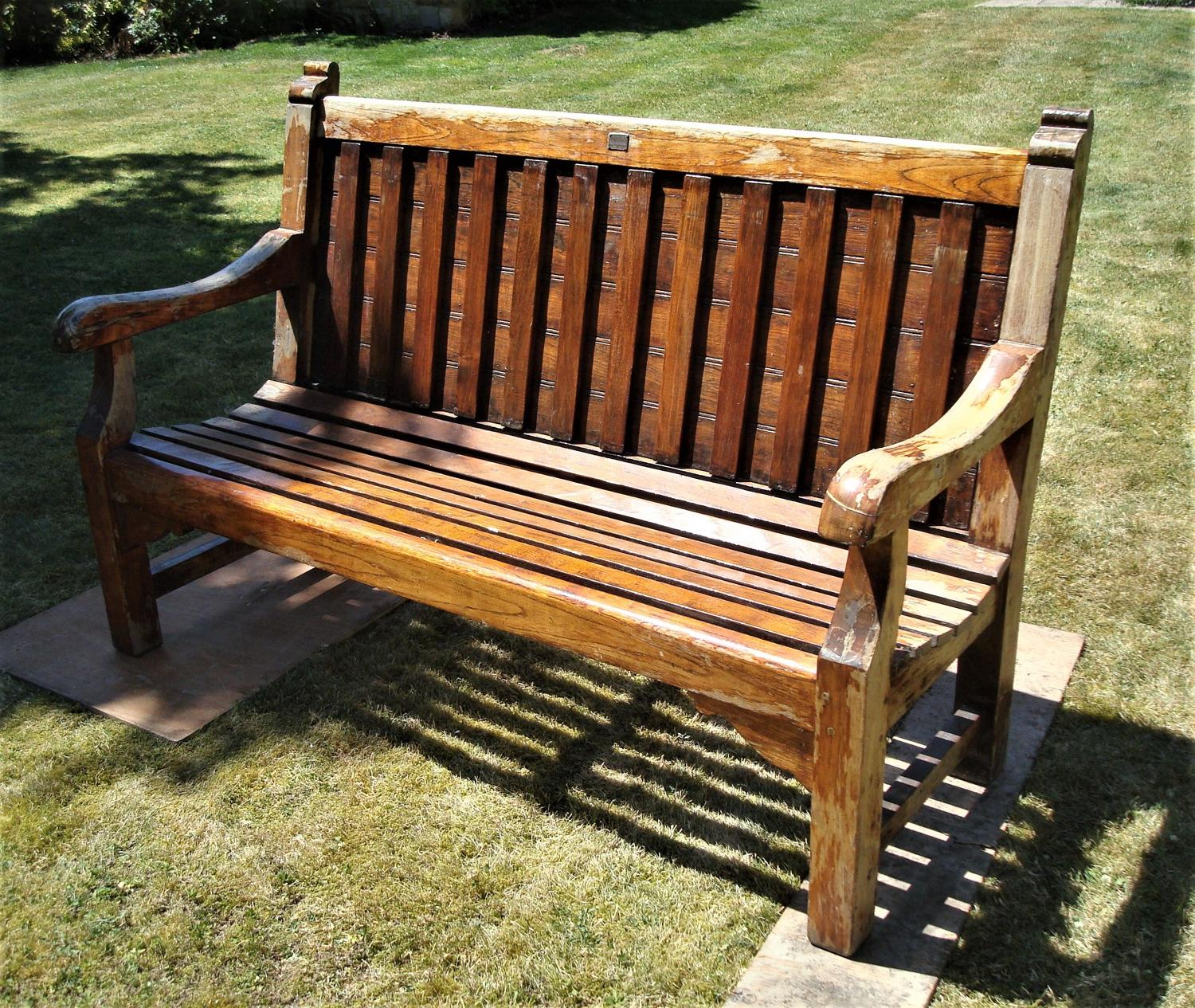 C20th teak ship's bench