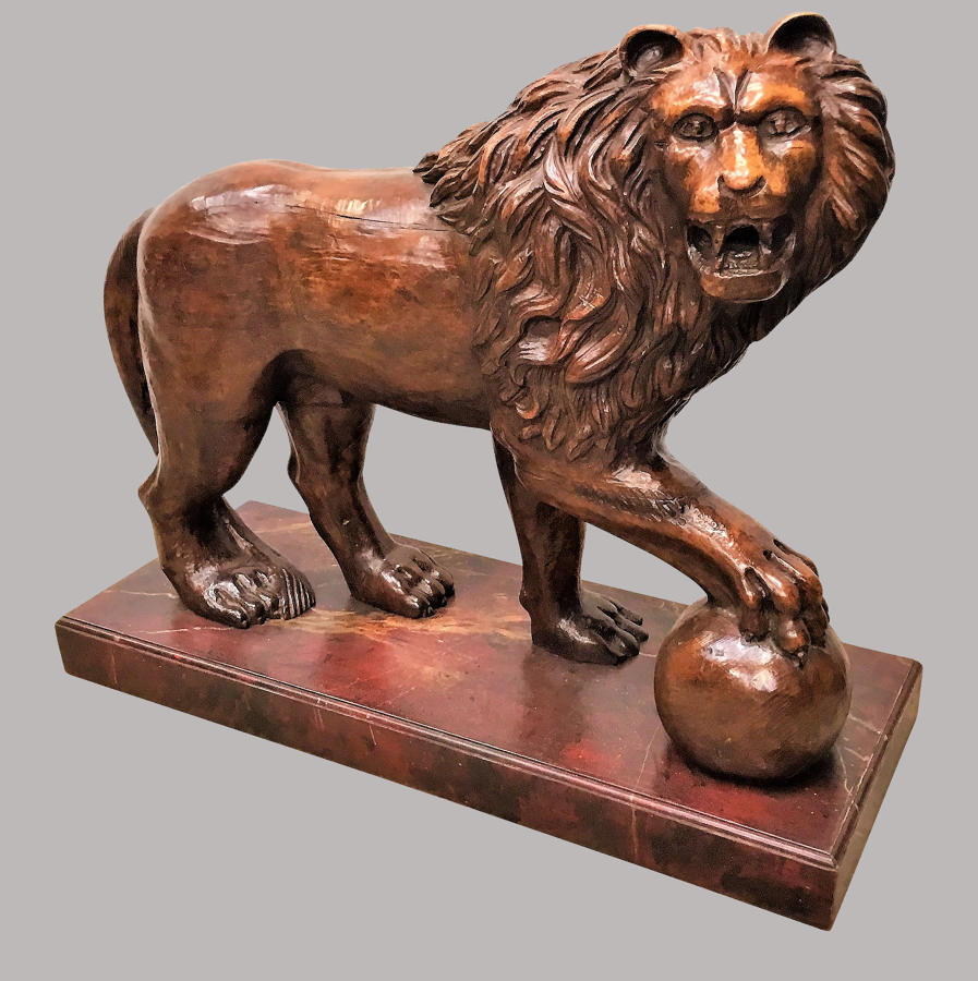 C19th pair of monumental Medici lions