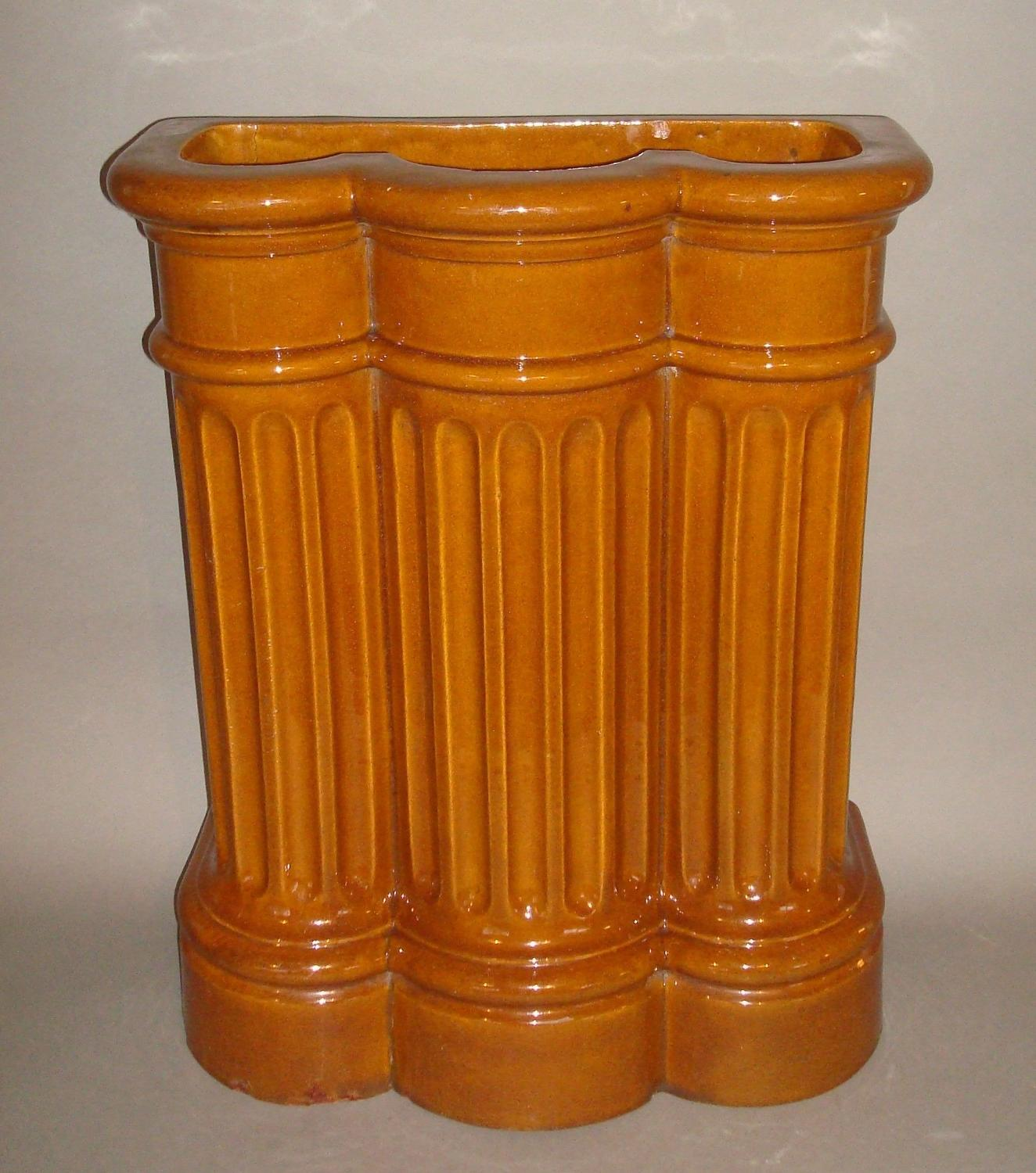 C19th glazed pottery majolica stick stand