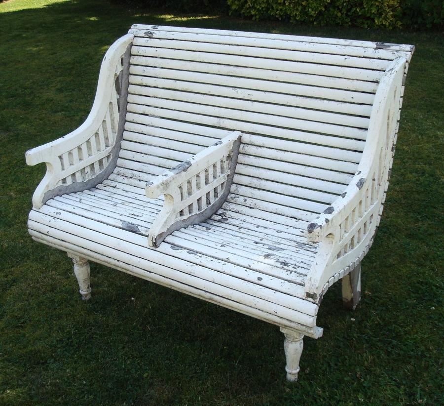 C20th stylish teak garden seat