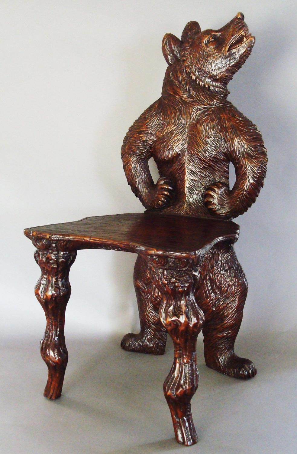 C19th Black Forest carved bear hall chair