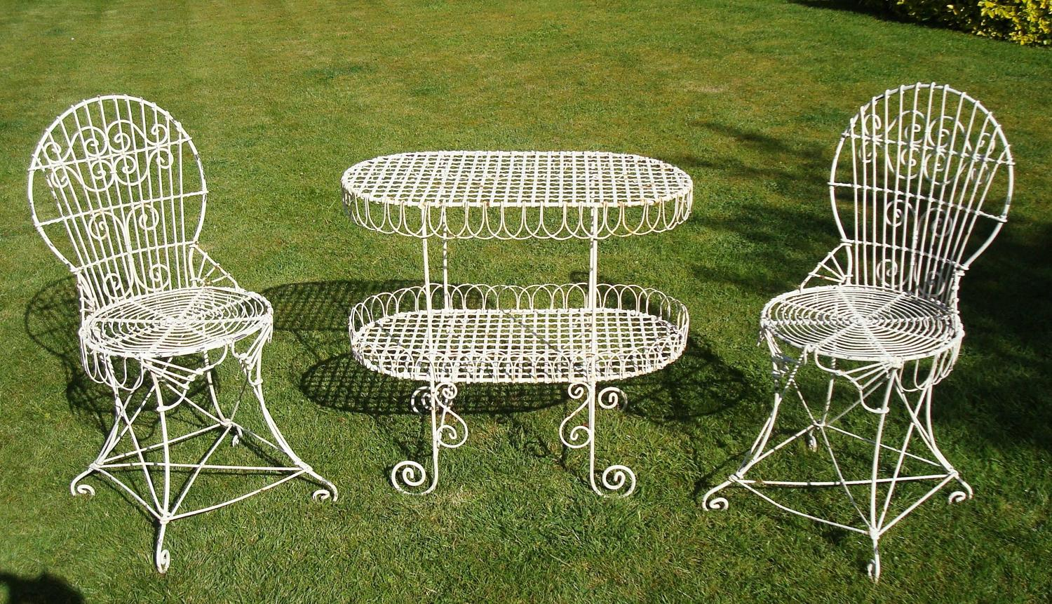 C19th wirework garden table and chairs