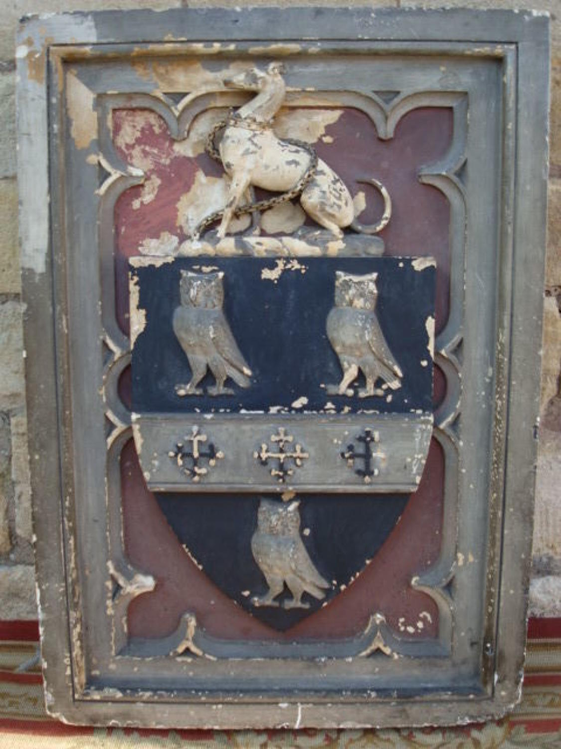 C19th painted plaster armorial panel