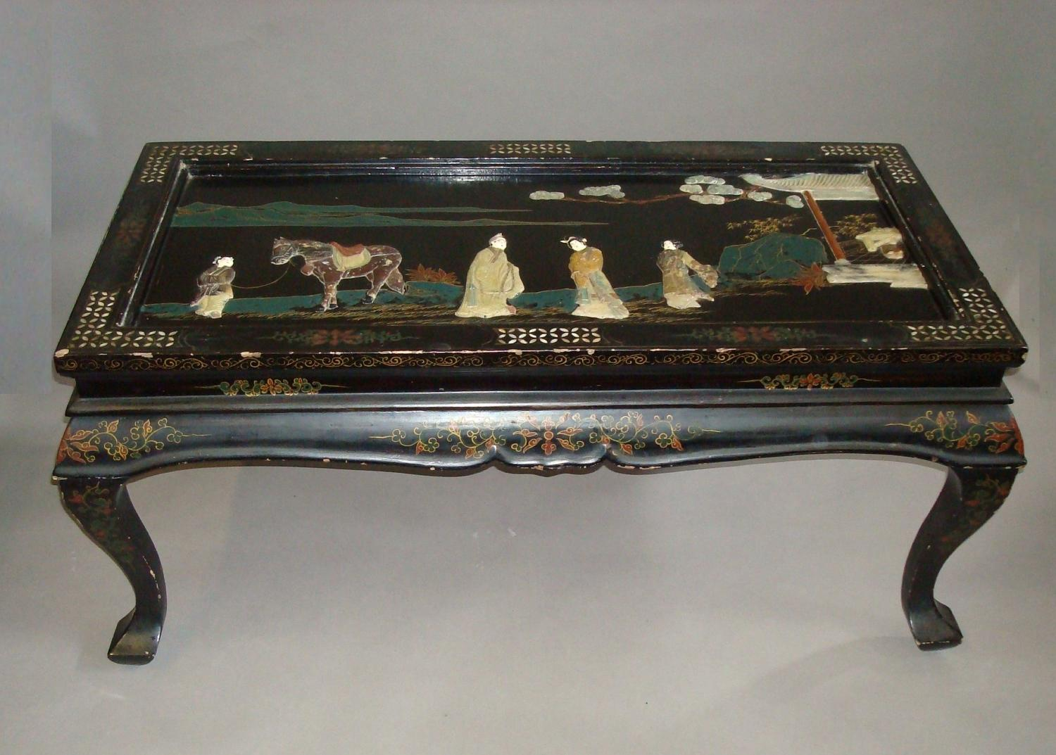 C20th chinese black and gilt lacquered low table