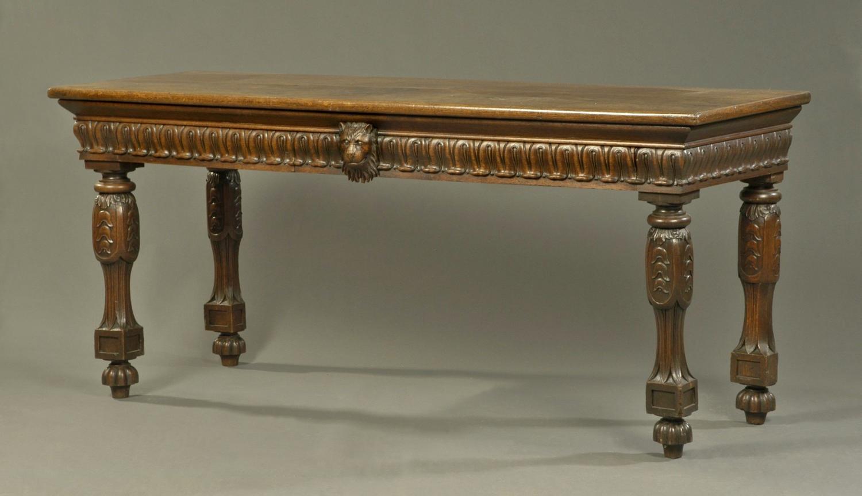 Geo IV carved oak lion mask serving table