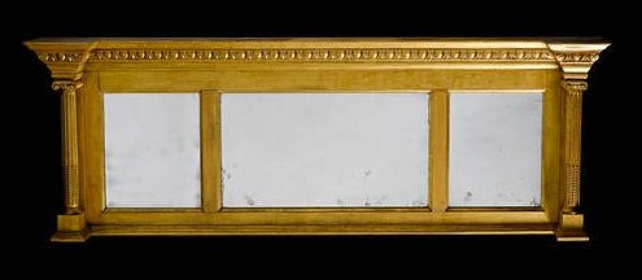 Regency giltwood overmantle wall mirror
