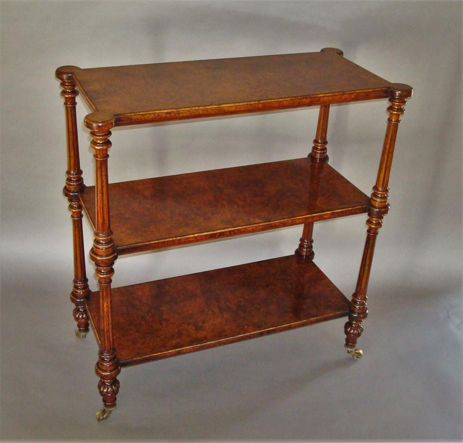 19th century burr walnut three tier Ètagere