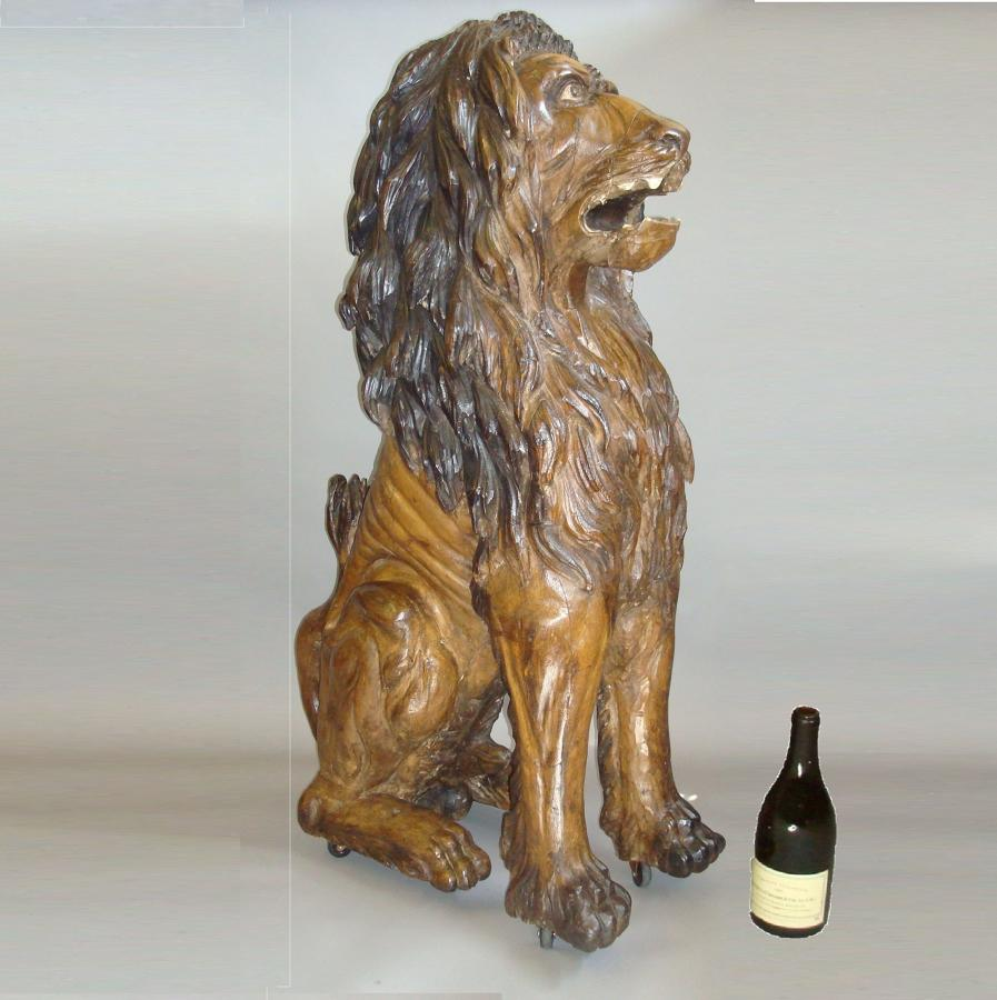 C19th lifesize carved lion