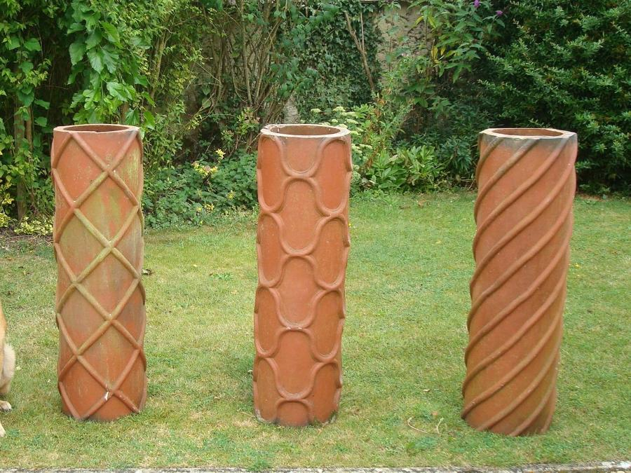 19th century trio of large terracotta chimney pots