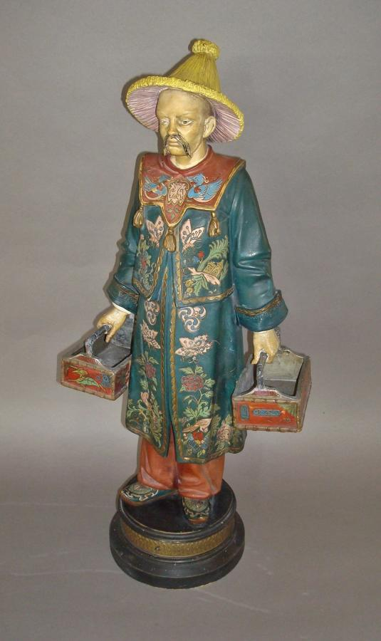 C19th decorated terracotta chinaman