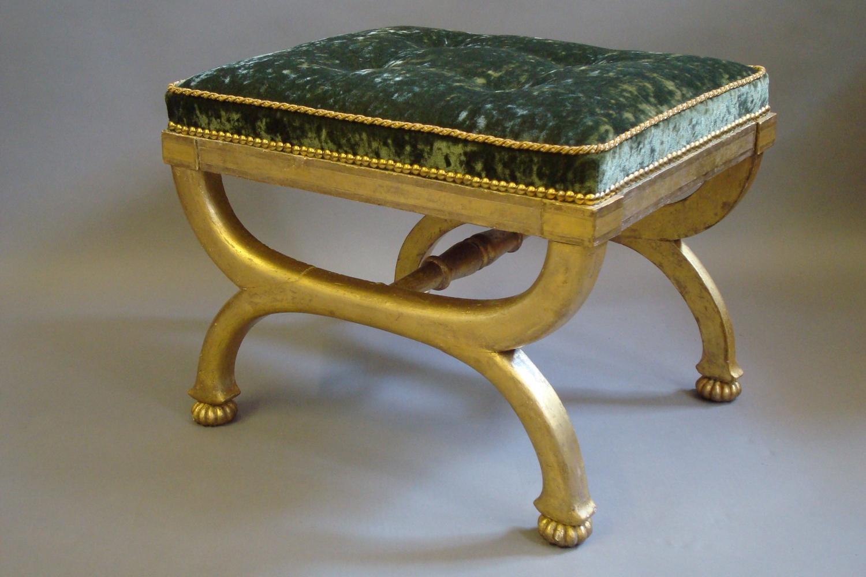 Regency gilt wood x frame stool