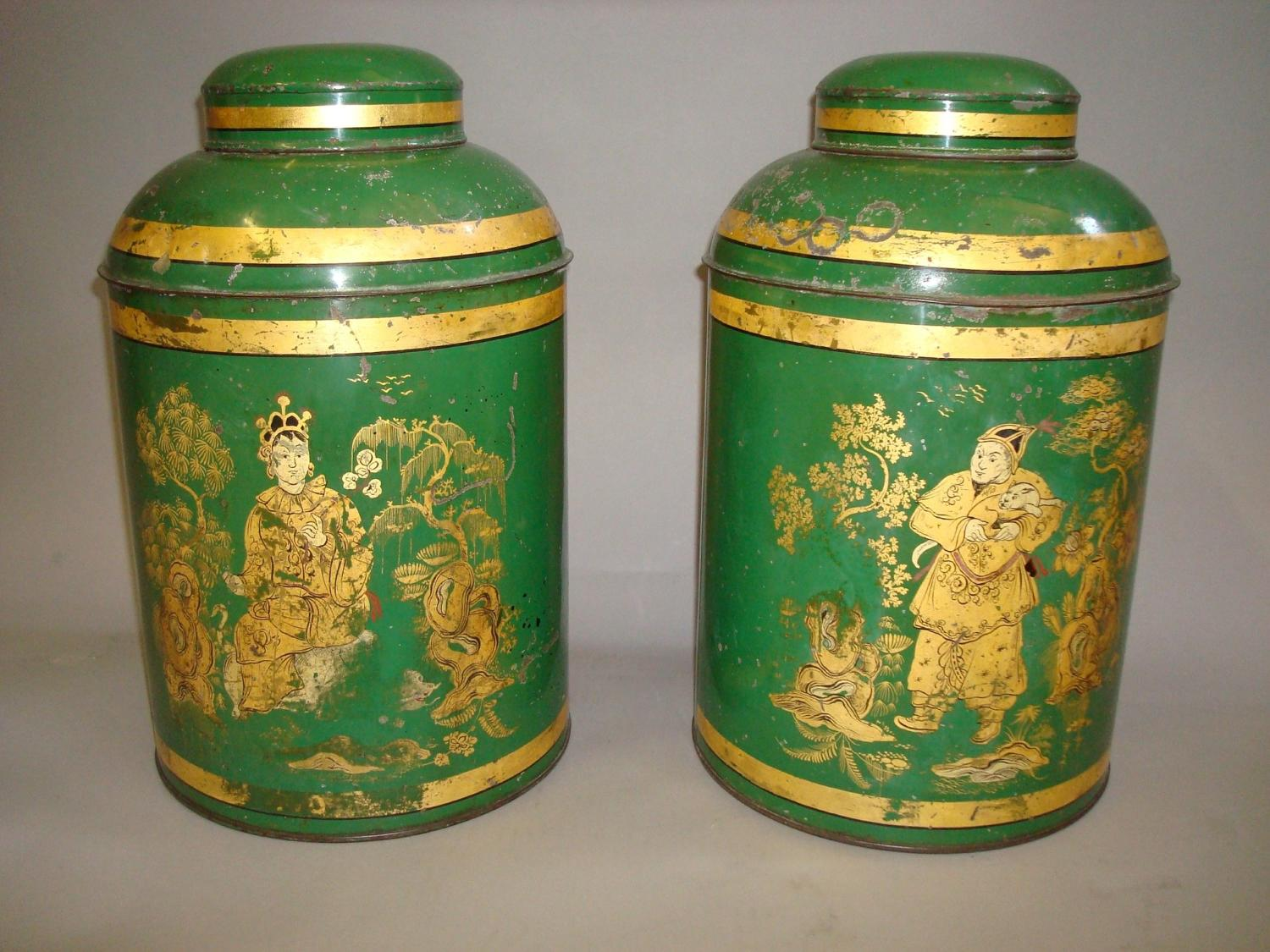 C19th japanned tole tea canisters