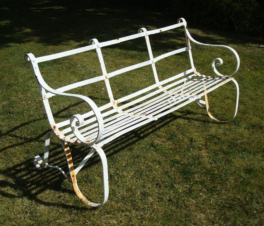 Regency wrought iron garden seat