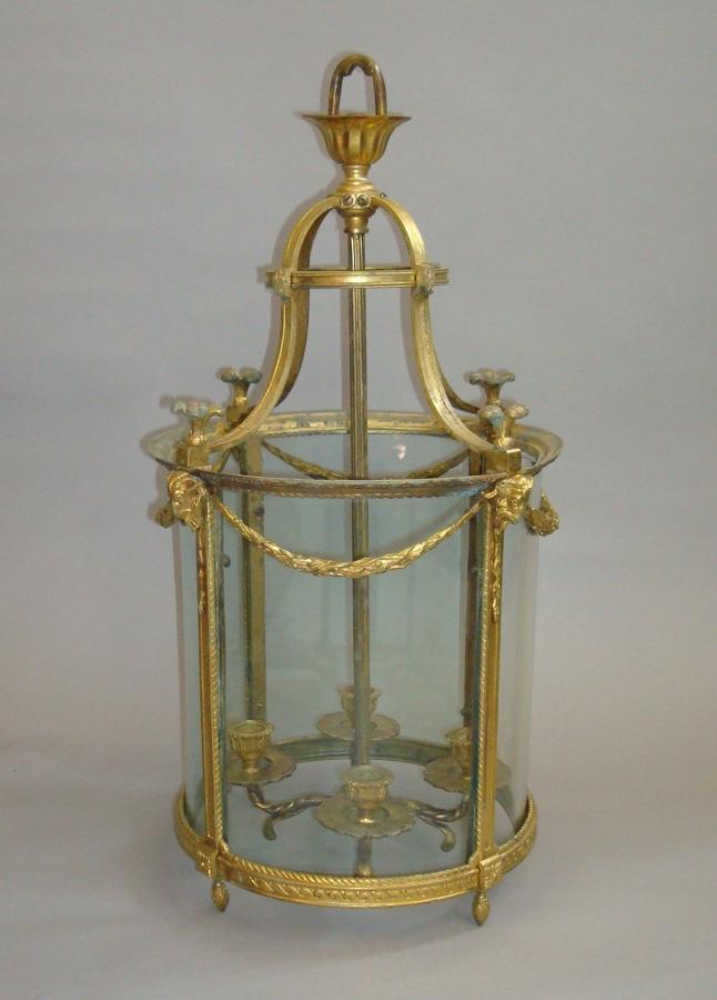 19th century gilt brass hall lantern