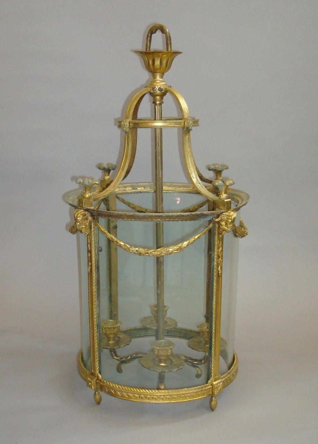 19th century gilt brass hall lantern