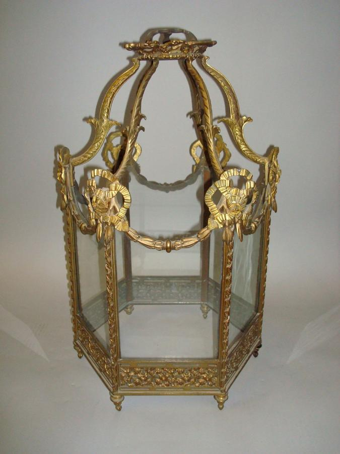 C19th gilt brass hexagonal hanging lantern