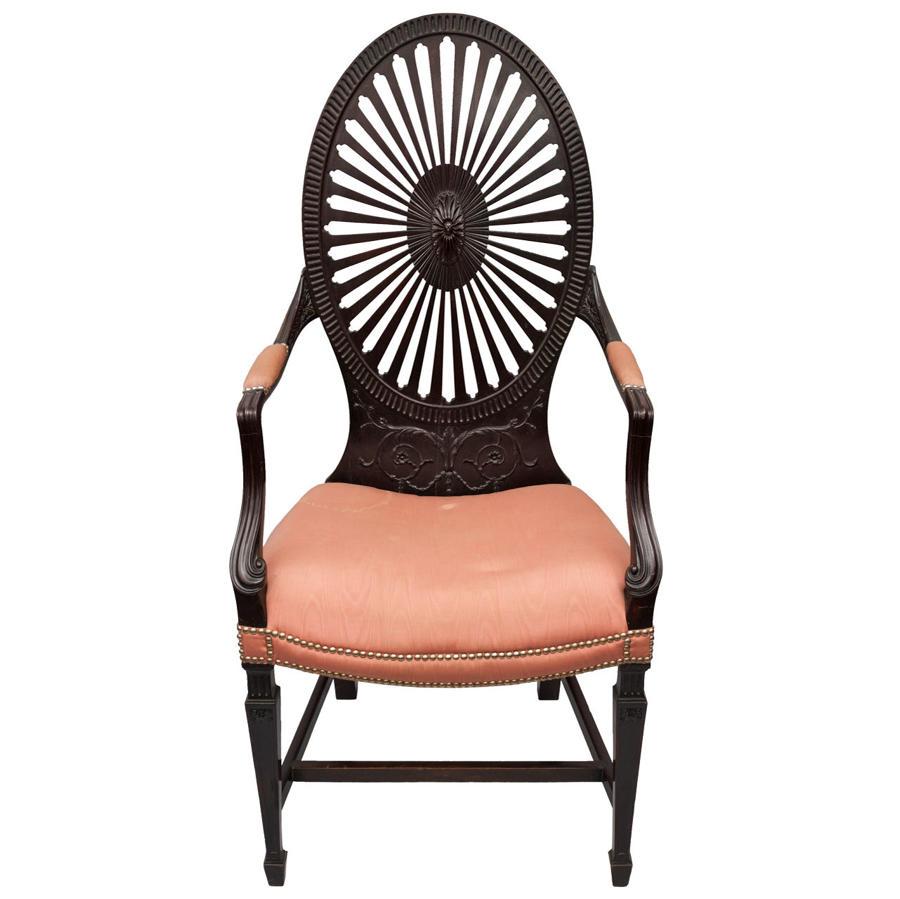 C19th mahogany open armchair