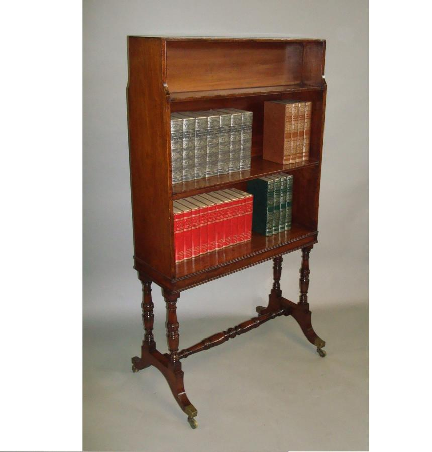 Regency mahogany waterfall open bookcase