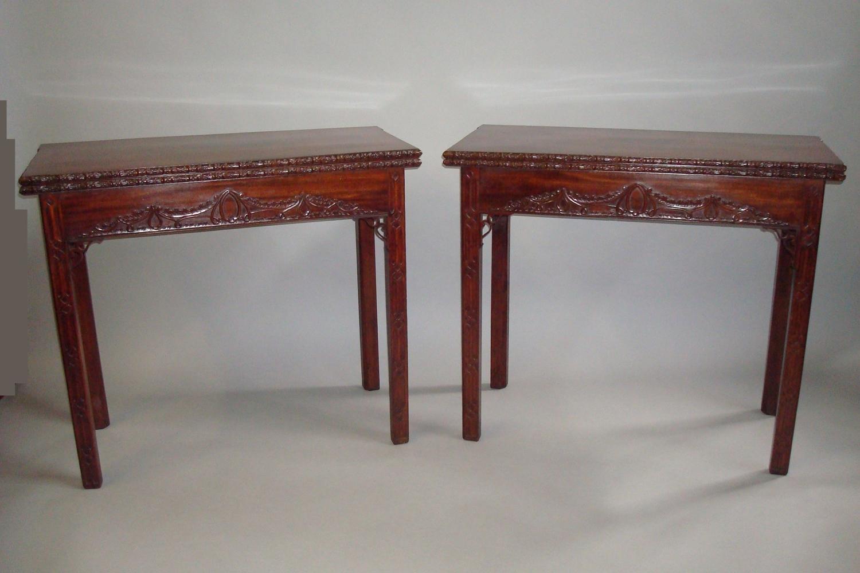 George III pair of mahogany tea and card tables