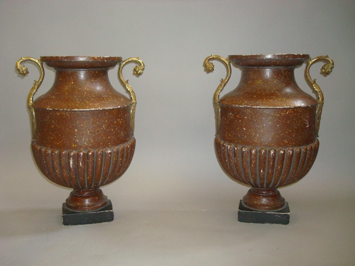C19th unusual pair of faux porphrey flat back urns
