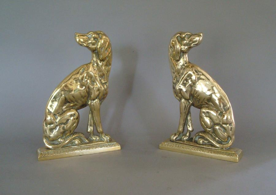 19th century pair brass retriever dogs doorstops
