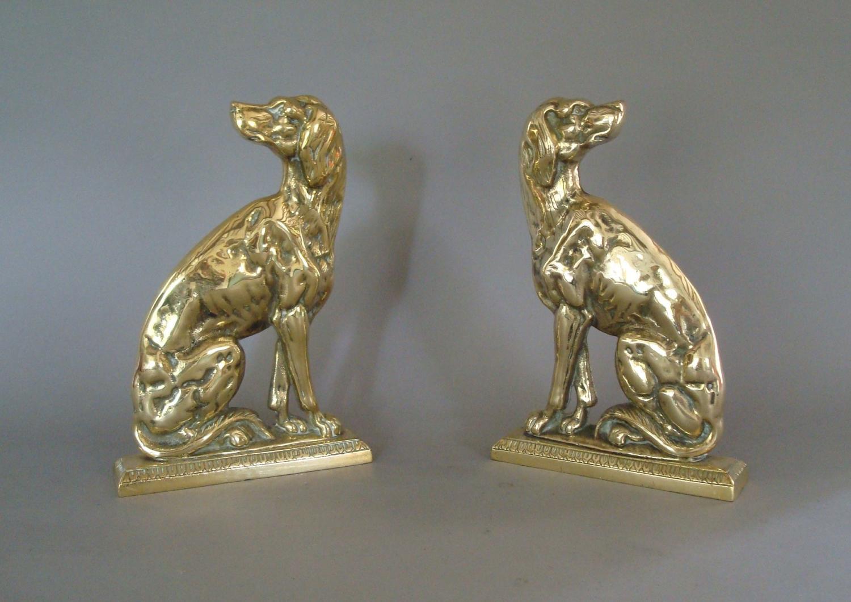 19th century pair brass retriever dogs doorstops