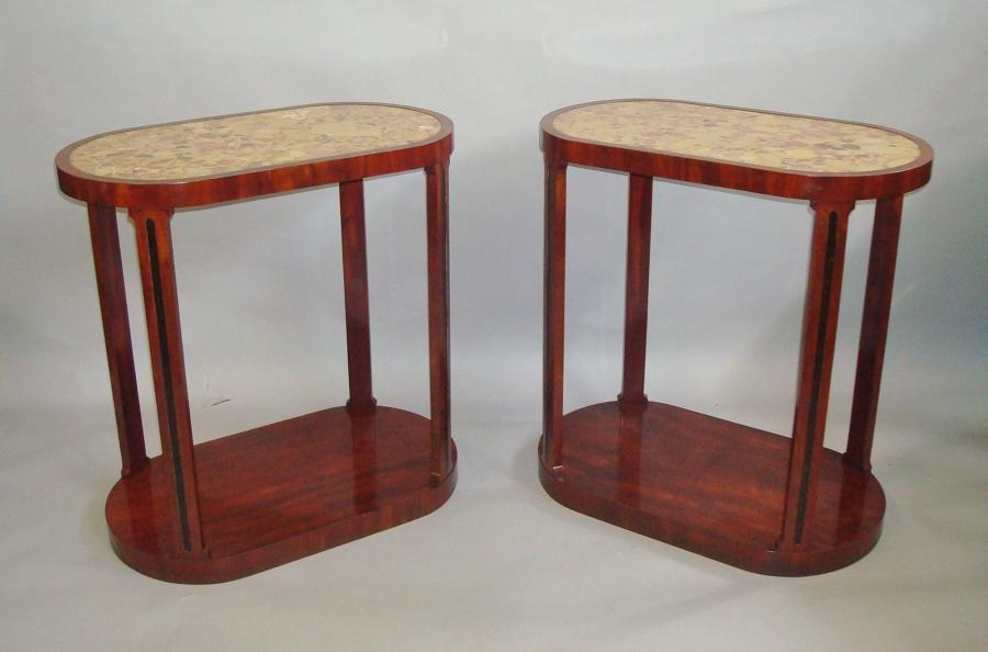 19th century pair of mahogany and marble end tables