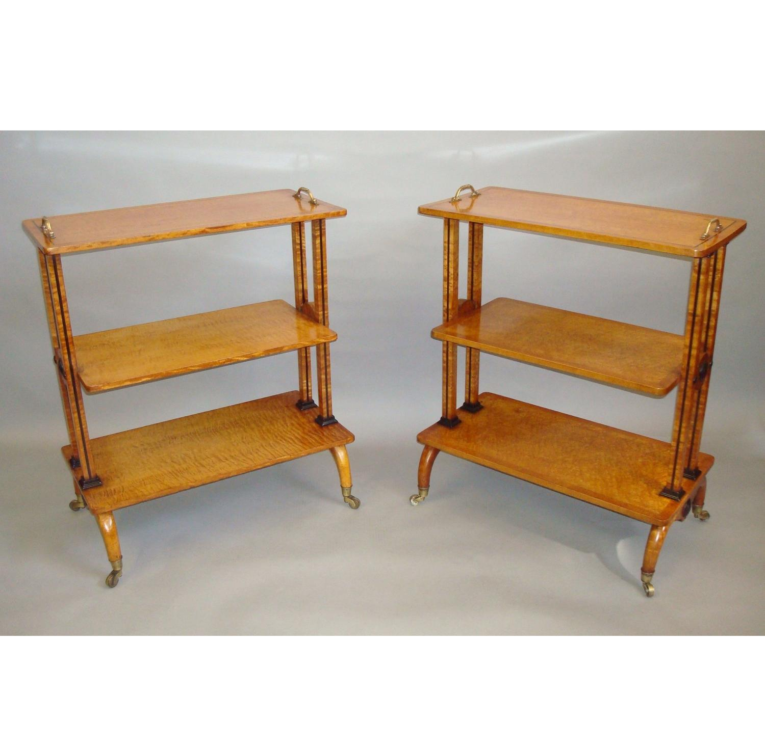Regency matched pair of maple etageres