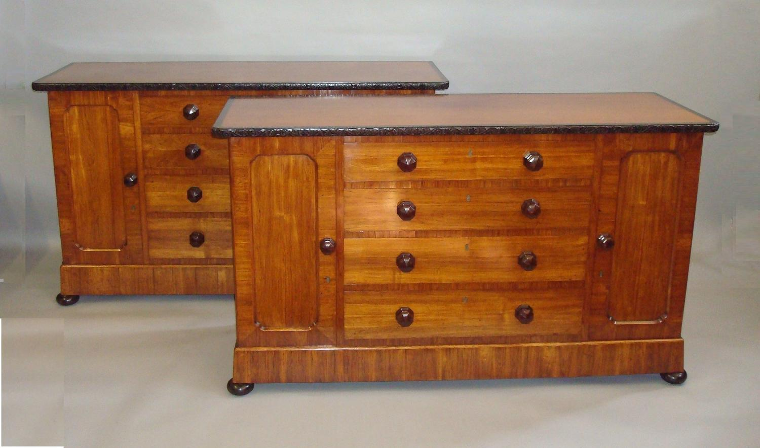 19th century pair of kingwood and ebony side cabinets