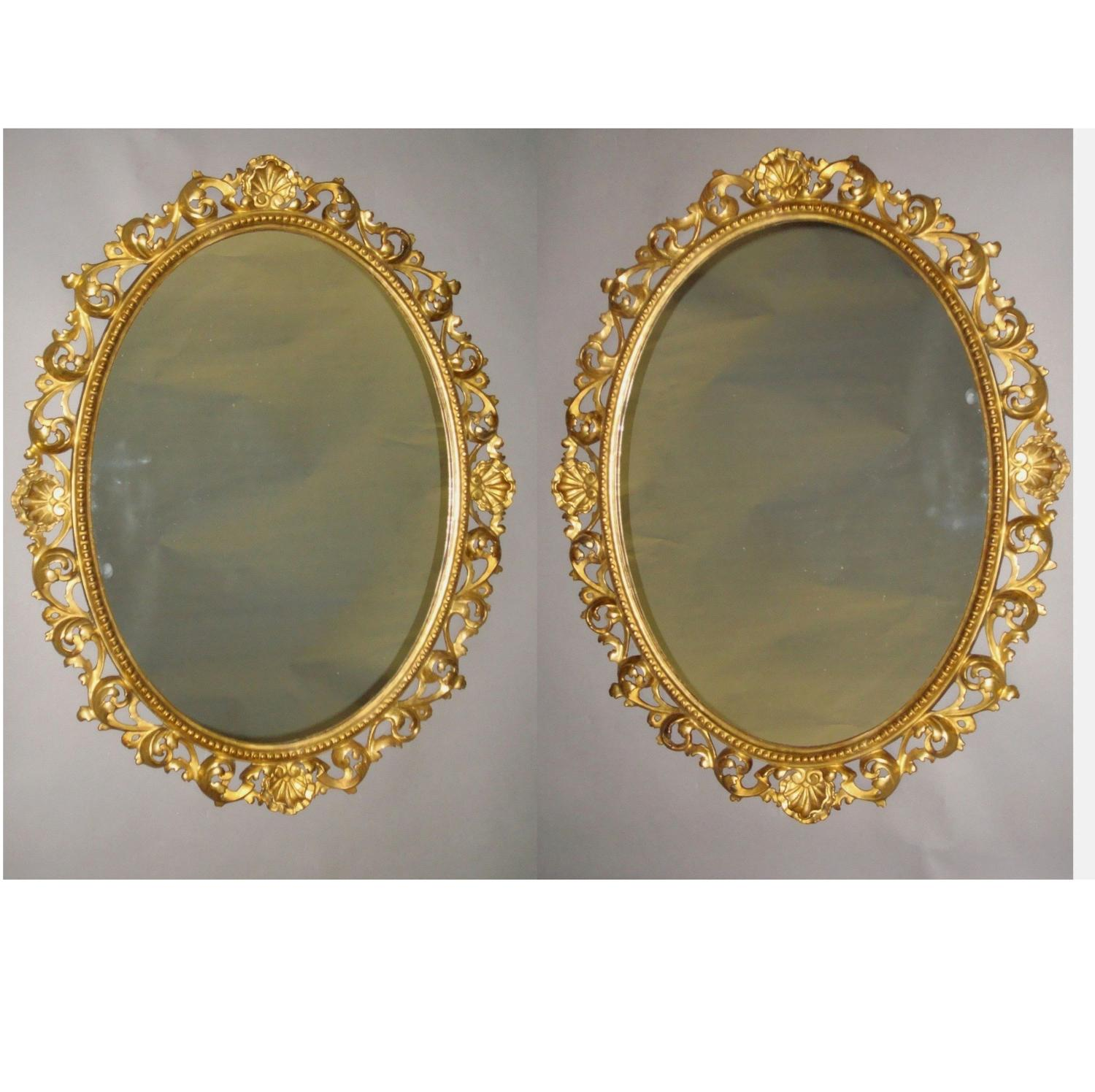 C19th pair of Florentine carved giltwood wall mirrors