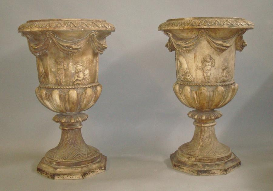 Regency pair of neo classical plaster urns