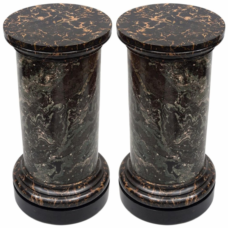 C19th pair of scagliola pedestal colums