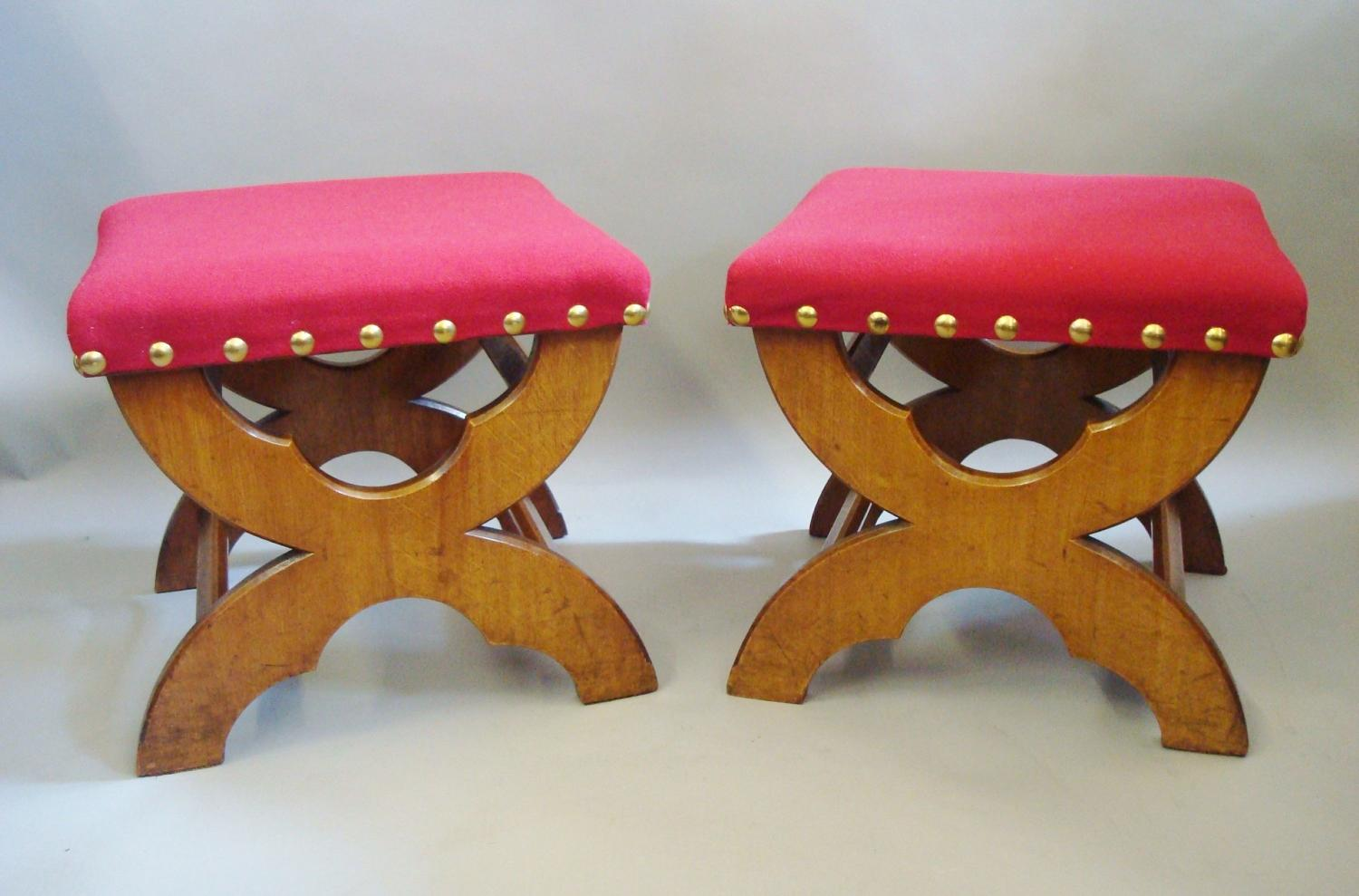 C19th pair of Gothic golden oak stools