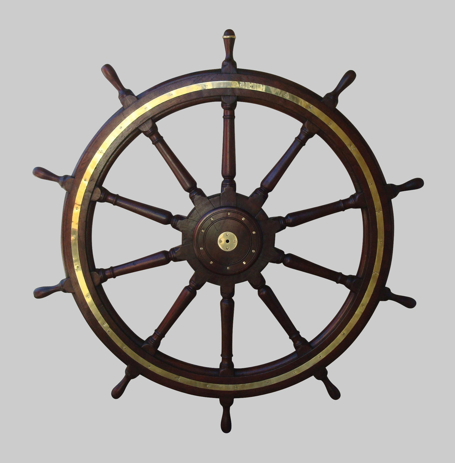 19th century very large teak ship's wheel