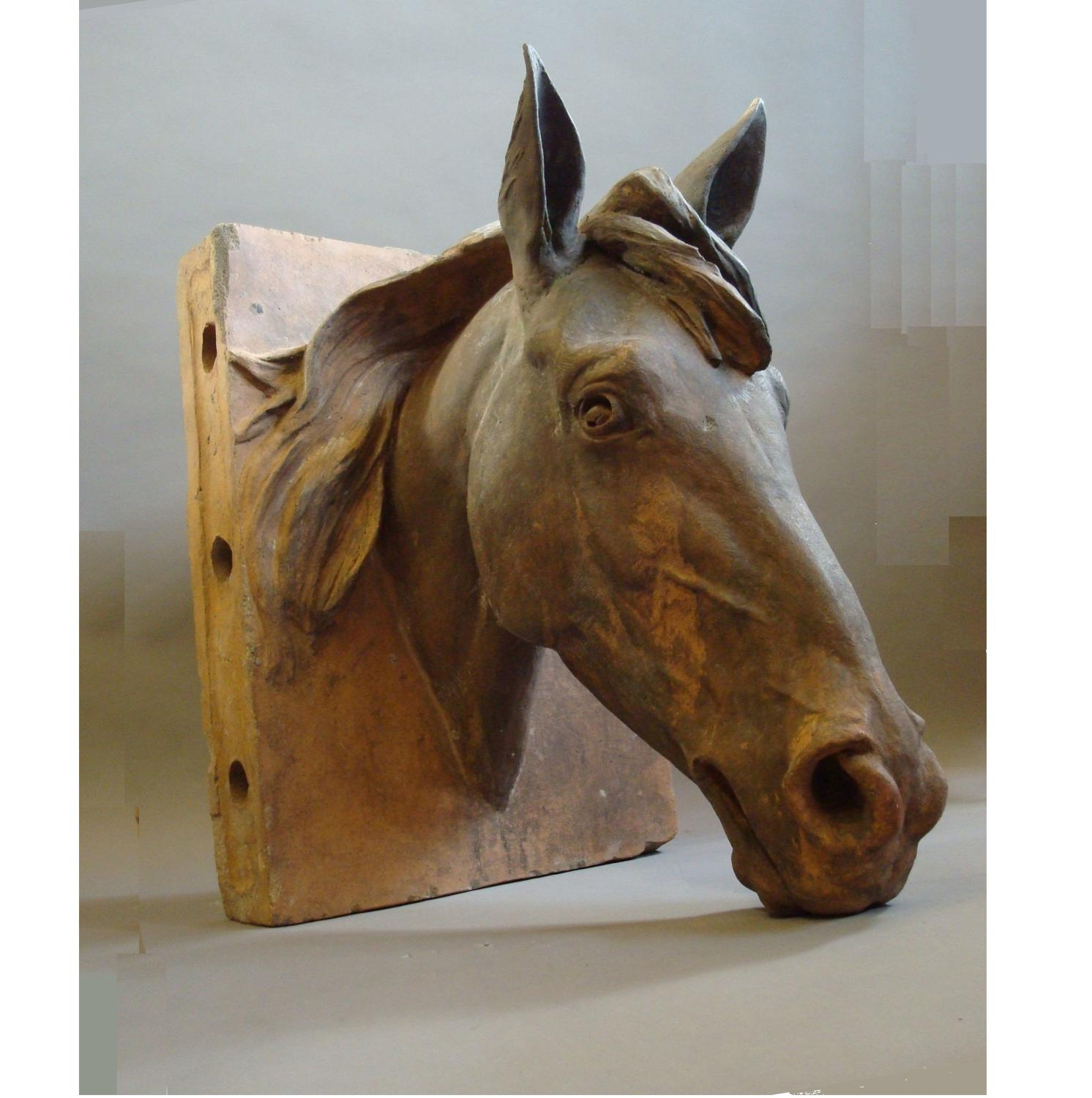 C19th terracotta life size horses head