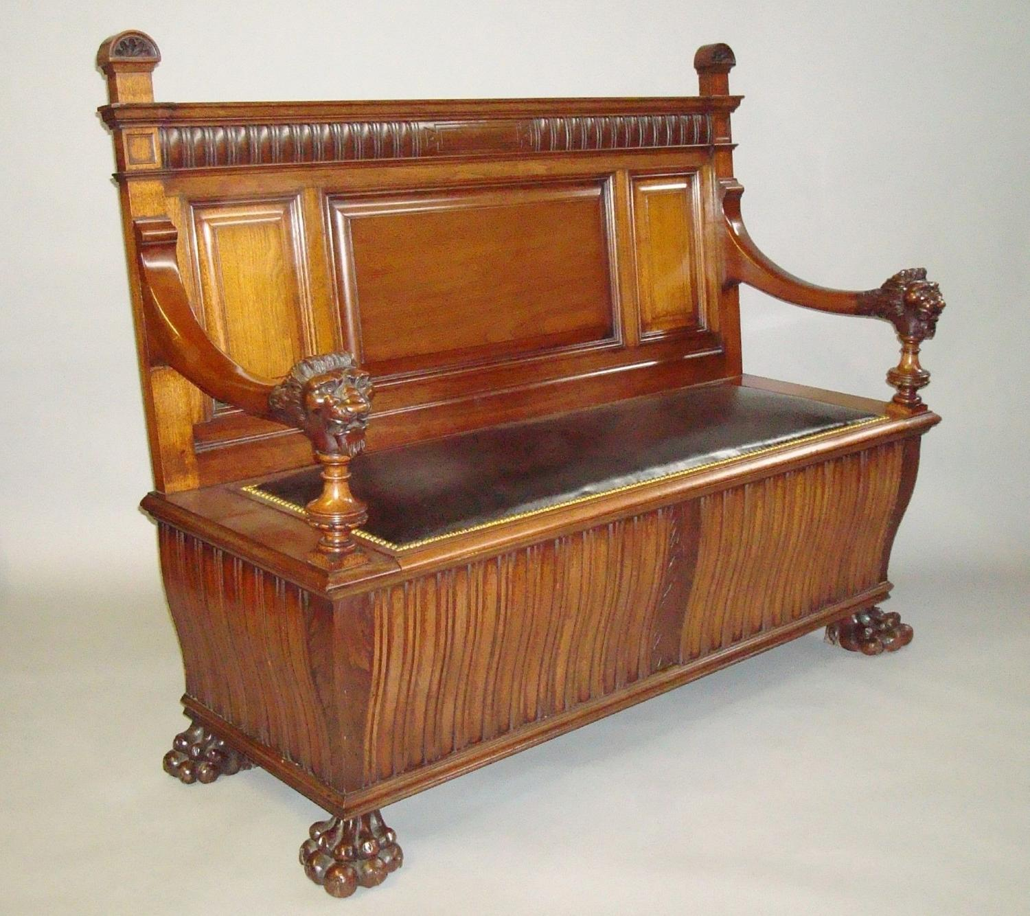 C19th walnut hall seat