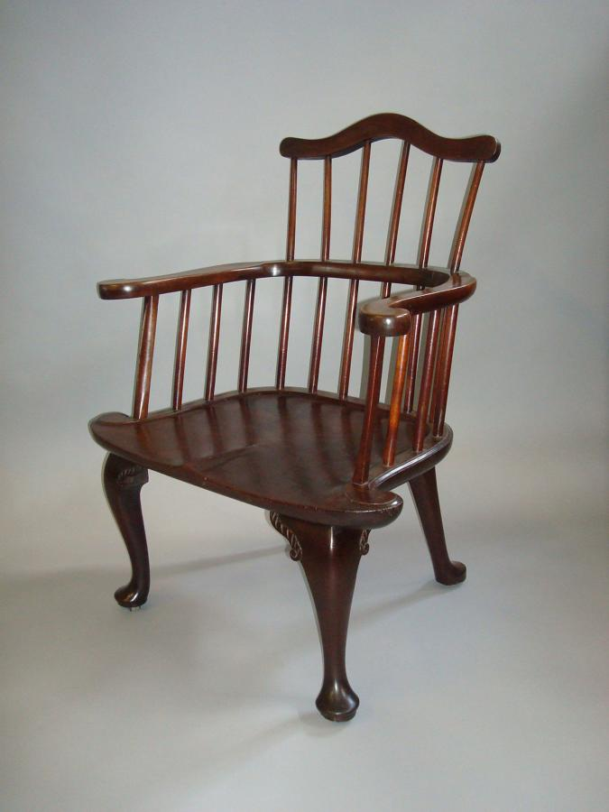 George II mahogany Windsor armchair of eccentric design