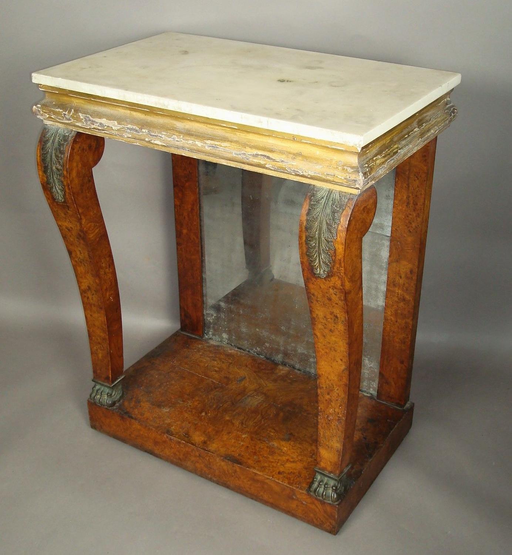 Regency burr elm console table