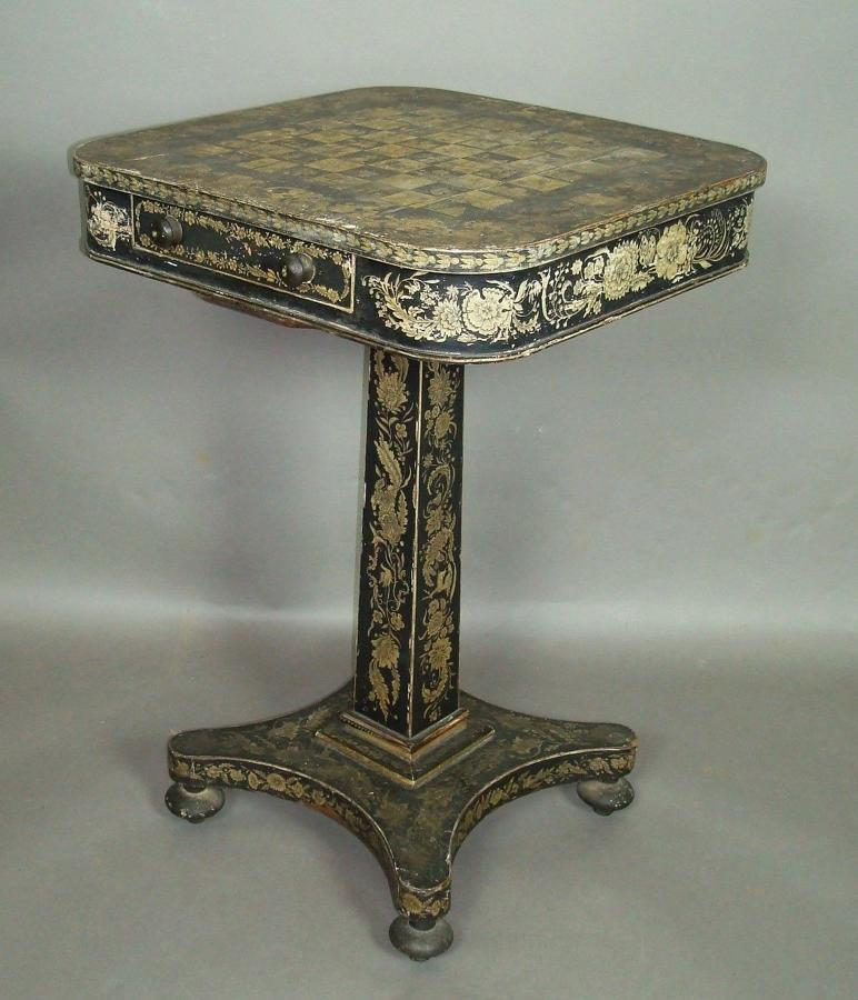 Regency penwork chess / occasional table