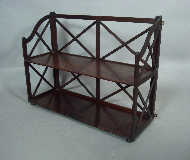 George III unusual model, mahogany shelves