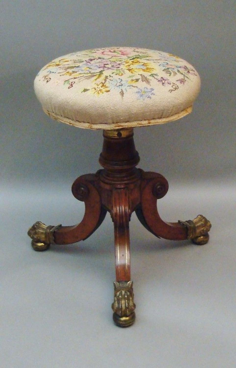 Regency brass inlaid adjustable music stool